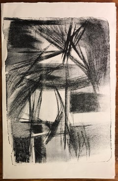 "Mid Century Jerry Opper Stone Lithograph Black & White ""Abstract Fireworks"""