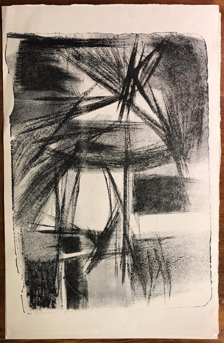 """Mid Century Jerry Opper Stone Lithograph Black & White """"Abstract Fireworks"""" - Print by Jerry Opper"""