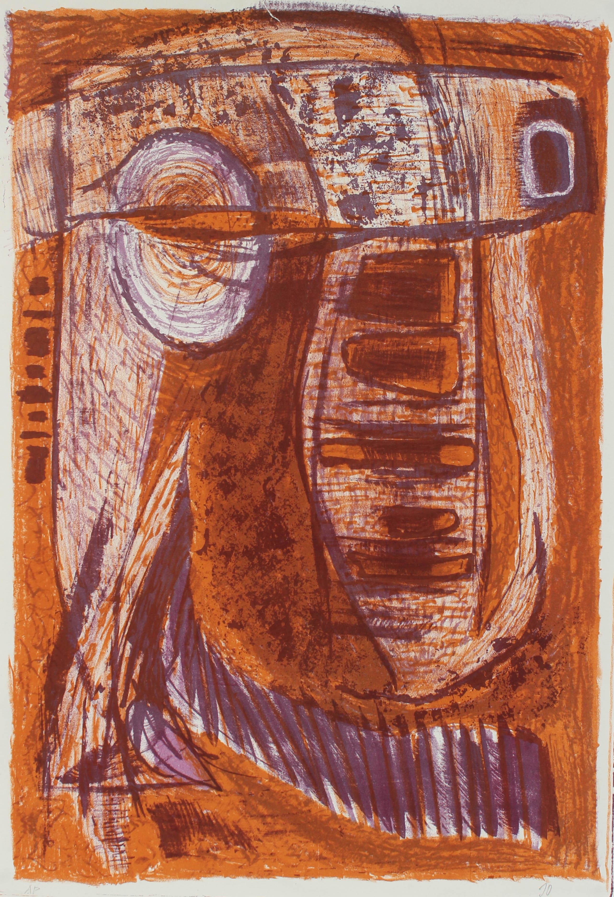 Mid Century Modernist Lithograph in Rust and Purple, Circa 1950s