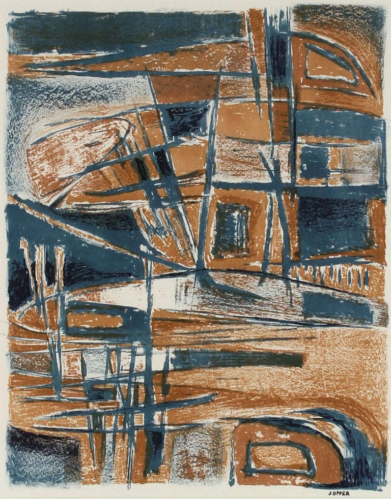 Modernist Abstract Lithograph in Blue and Brown, Mid-Century - Gray Abstract Print by Jerry Opper