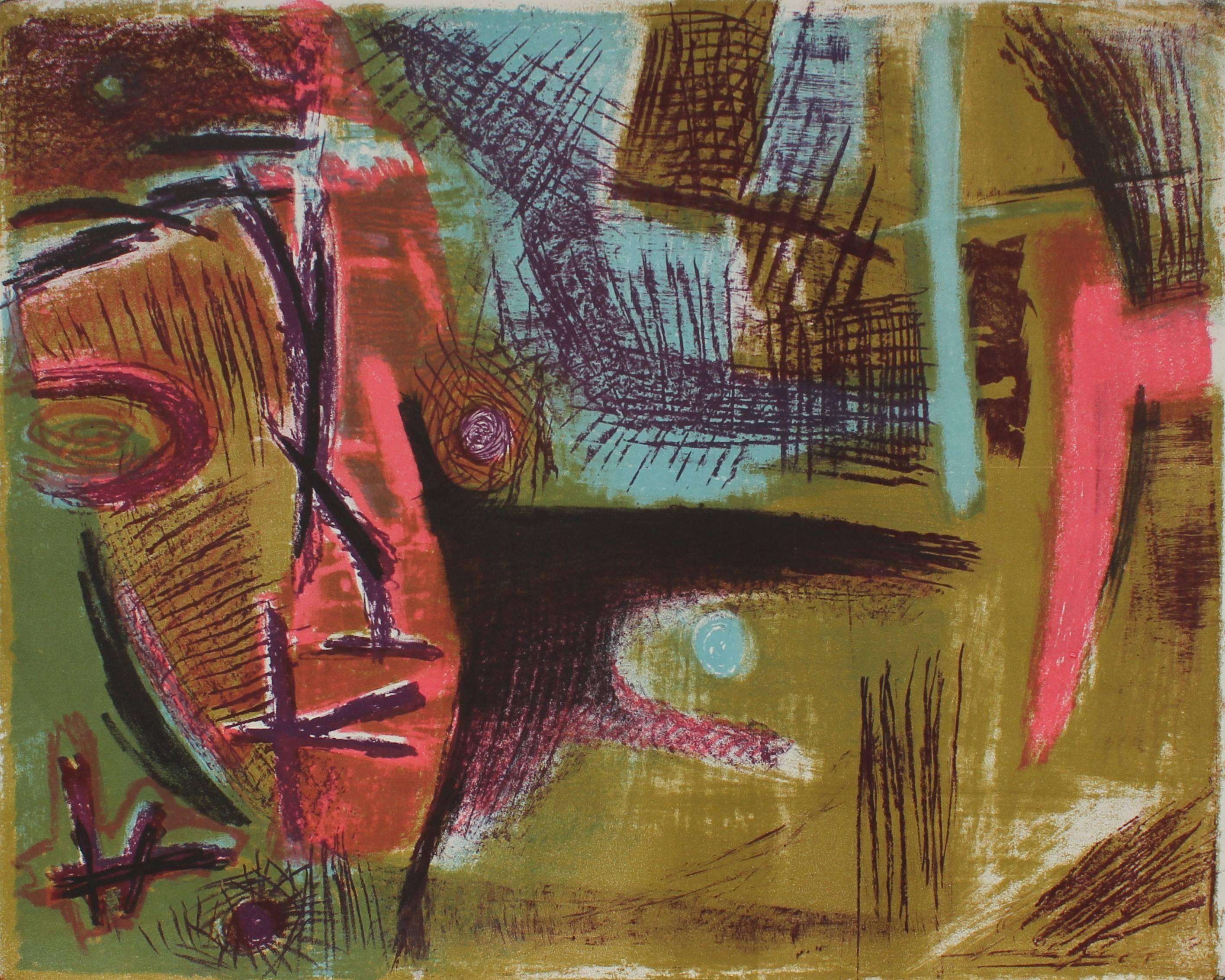 Modernist Abstract Lithograph, Circa 1950s
