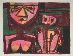 Modernist Figurative Lithograph in Pink and Red, Circa 1950s