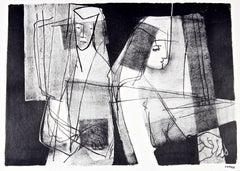 Modernist Figures in Black & White, Stone Lithograph, Circa 1950