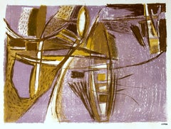 Purple and Brown Abstract 1940-50s Lithograph