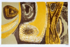 Sea Foam and Yellow Abstract 1940-50s Lithograph