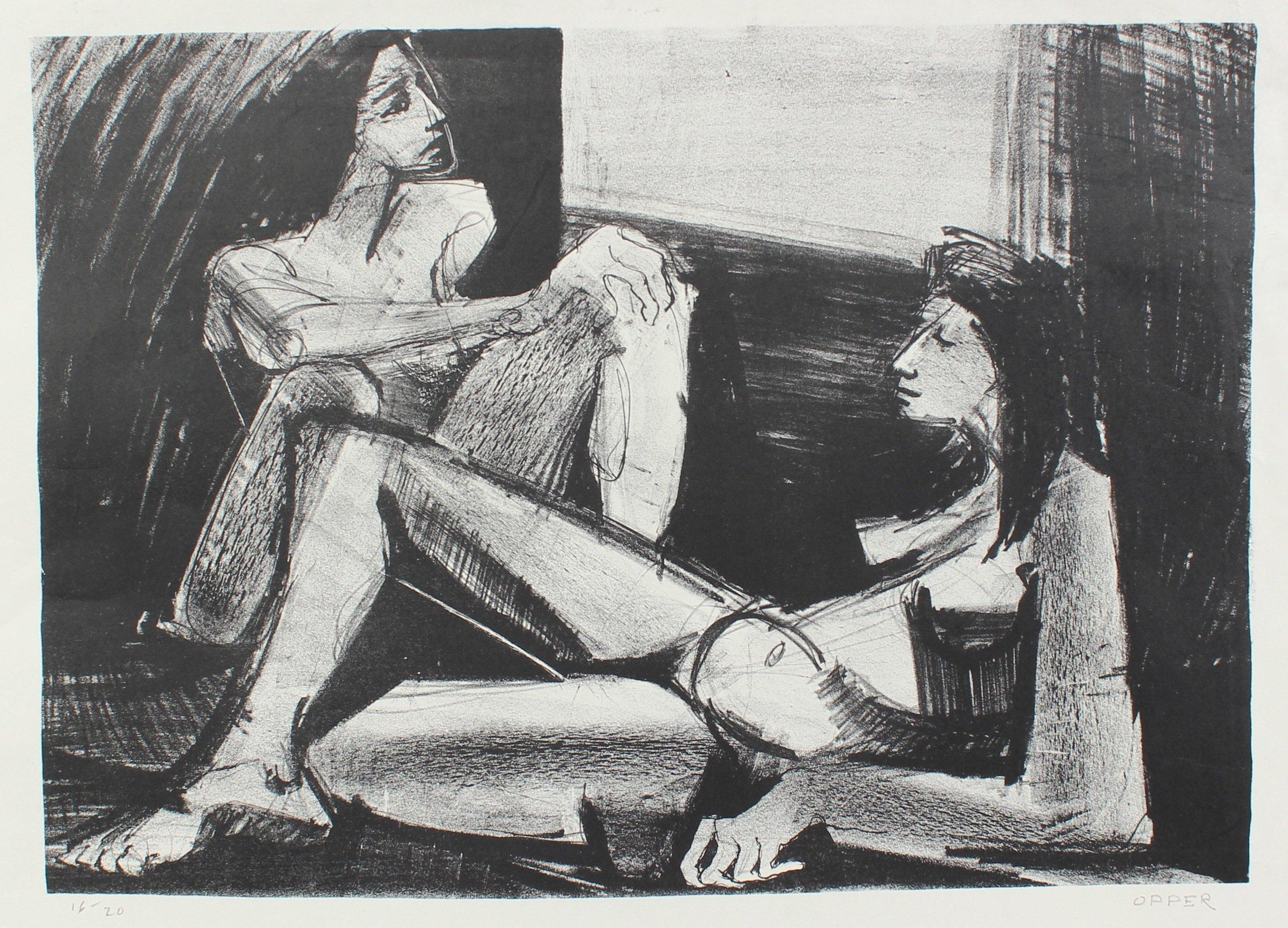 Two Nude Figures 1940-50s Stone Lithograph