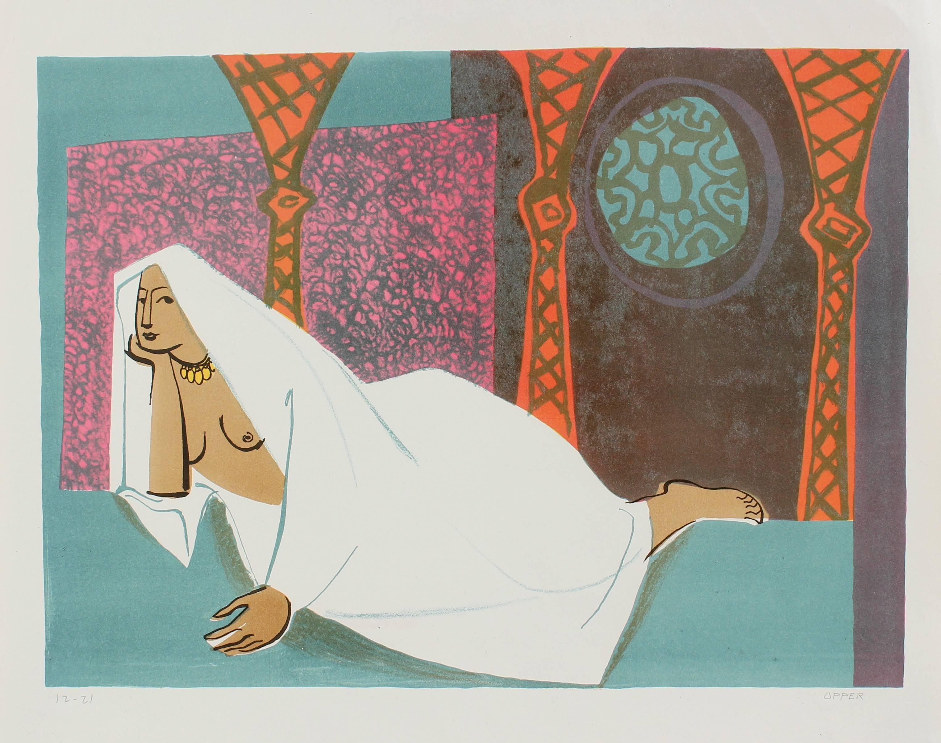 Veiled Woman Reclining, Stone Lithograph, Circa 1950