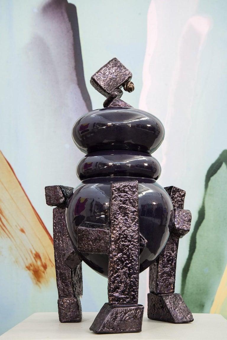 Ritual Vessel Tureen - large, purple, decorative, abstract glazed ceramic vessel For Sale 1
