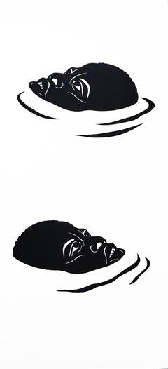'Treading Water in The Deep End #1' - figurative - black & white - Kara Walker