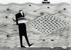 Fisherman's workplace - XXI century, Black and white figurative print