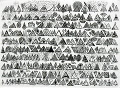 Rhythmic breath of a coniferous forest - XXI century, Black and white etching