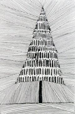 Simple, yet proud tree - XXI century, Black and white etching, Figurative