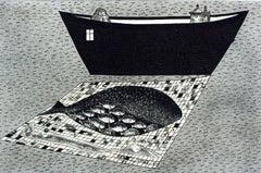 A pregnant goldfish - XXI century, Black and white figurative print