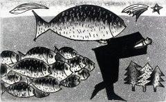 Carp's friend - XXI century, Black and white etching, Fish