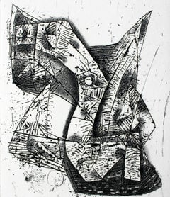 In a bath - XXI Century, Contemporary Abstract Etching, Black and White
