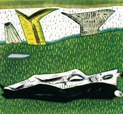 Landscape's rest - XXI Century, Contemporary Colourful Figurative Print