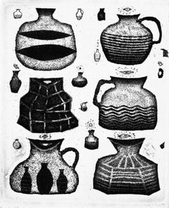 Satiety and thanksgiving of clay pots - XXI century, Black and white etching
