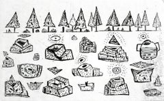 The birth of sources in a coniferous forest - XXI century, Black and white print