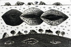 Three kisses of the Heaven - XXI century, Black and white etching