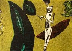 Touch - XXI century, Figurative print, Colourful, Black & yellow