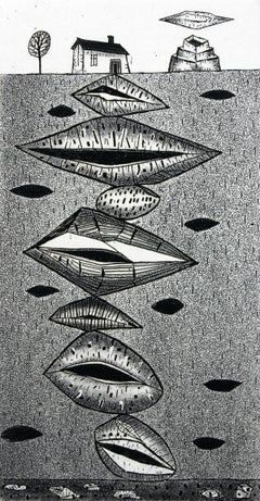 Wonders derived from Earth - XXI century, Black and white etching