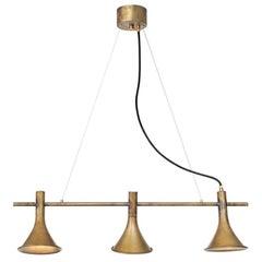 Jesper Ståhl Megafon 3-Raw Brass Ceiling Lamp by Konsthantverk