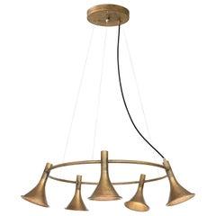 Jesper Ståhl Megafon 5 Round Raw Brass Ceiling Lamp by Konsthantverk