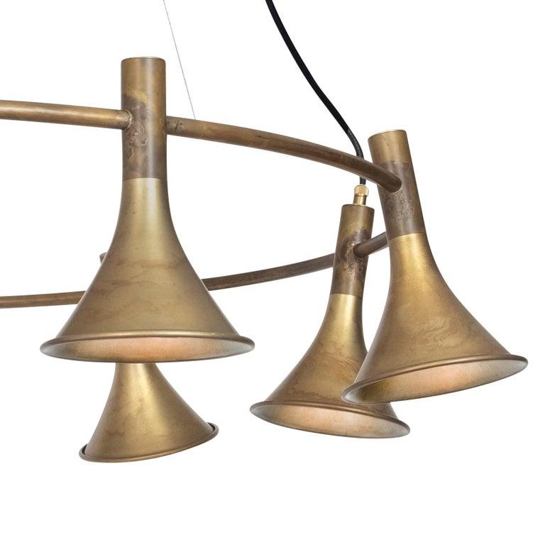Scandinavian Modern Jesper Ståhl Megafon 9 Round Raw Brass Ceiling Lamp by Konsthantverk  For Sale
