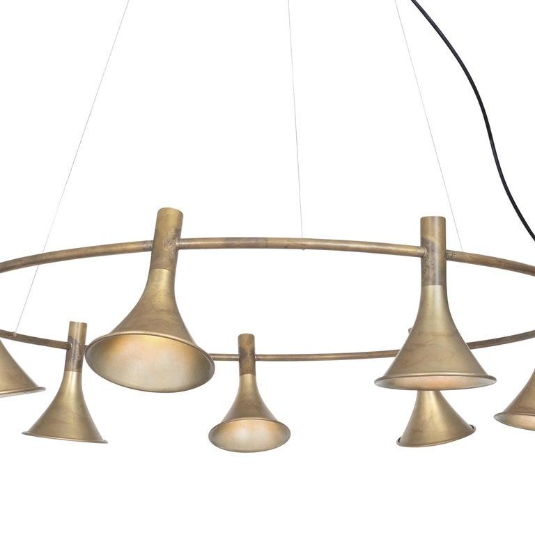 Swedish Jesper Ståhl Megafon 9 Round Raw Brass Ceiling Lamp by Konsthantverk  For Sale
