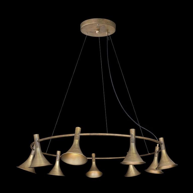 Contemporary Jesper Ståhl Megafon 9 Round Raw Brass Ceiling Lamp by Konsthantverk  For Sale