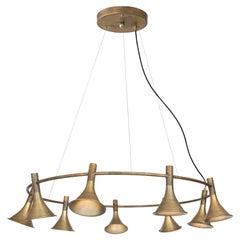 Jesper Ståhl Megafon 9 Round Raw Brass Ceiling Lamp by Konsthantverk