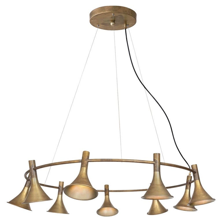 Jesper Ståhl Megafon 9 Round Raw Brass Ceiling Lamp by Konsthantverk  For Sale