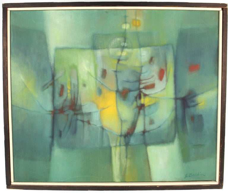 Acrylic on canvas modern painting titled 'Illuminated Journey' and created by Jesse Redwin Bardin in the 1960s. Bardin was a friend and contemporary of Jasper Johns. Both left South Carolina for New York City in the 1950s. The piece is in very good