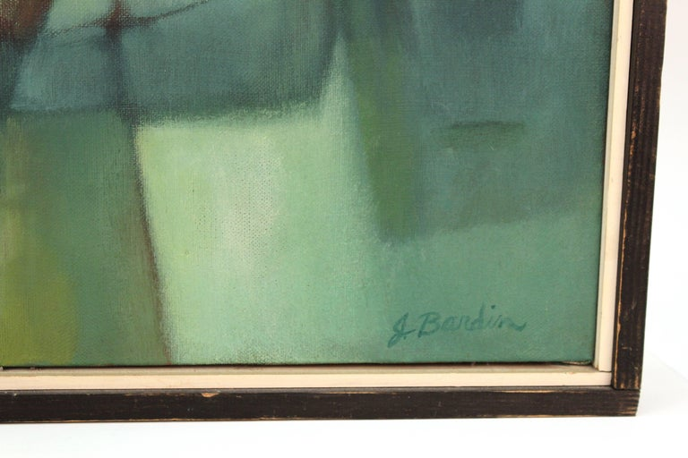 Mid-20th Century Jesse Bardin Modern Acrylic on Canvas Painting For Sale