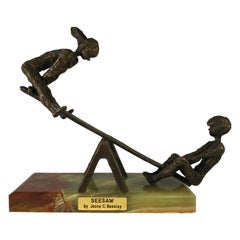 Jesse C Beesley Signed 1970s Bronze Boy and Girl Teeter-Totter SeeSaw Sculpture