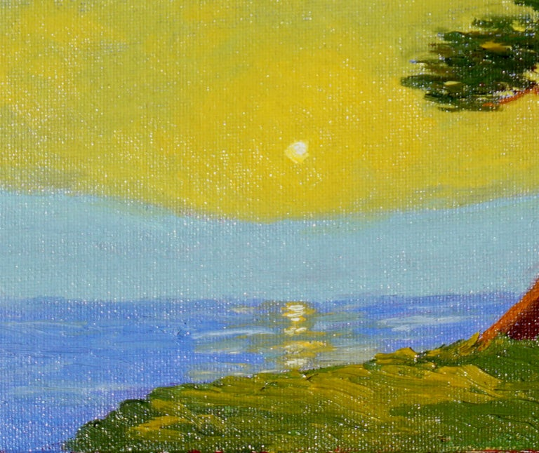Monterey Cypress Sunset - American Impressionist Painting by Jesse Don Rasberry