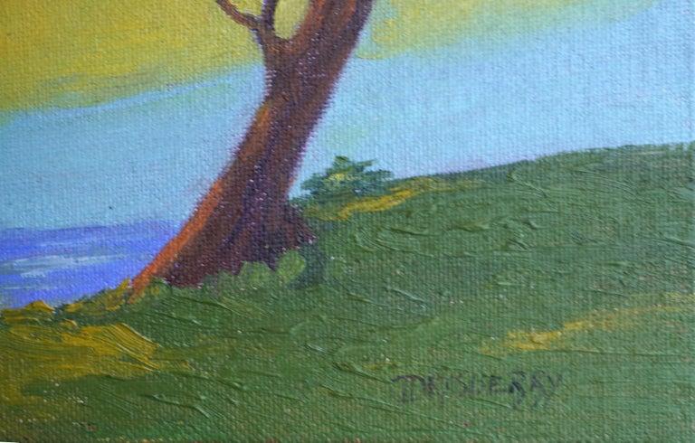 Monterey Cypress Sunset - Green Landscape Painting by Jesse Don Rasberry
