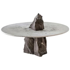 "Jesse Ede, ""Lunar"", Aluminium and Slate Stone Coffee Table"