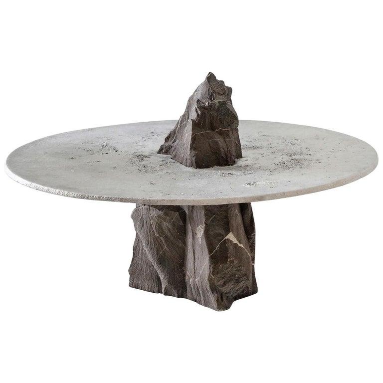 "Jesse Ede, ""Lunar"", Aluminium and Slate Stone Coffee Table For Sale"