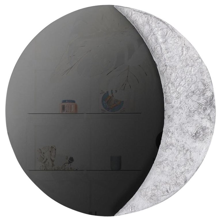 """Jesse Ede, """"Sickle"""", Aluminium and Hand Silvered Black Mirror For Sale"""