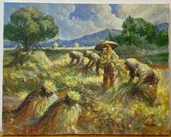 "Jesse F. Santos ""Harvesting Rice"" Philippine Landscape Oil Painting c.1970"