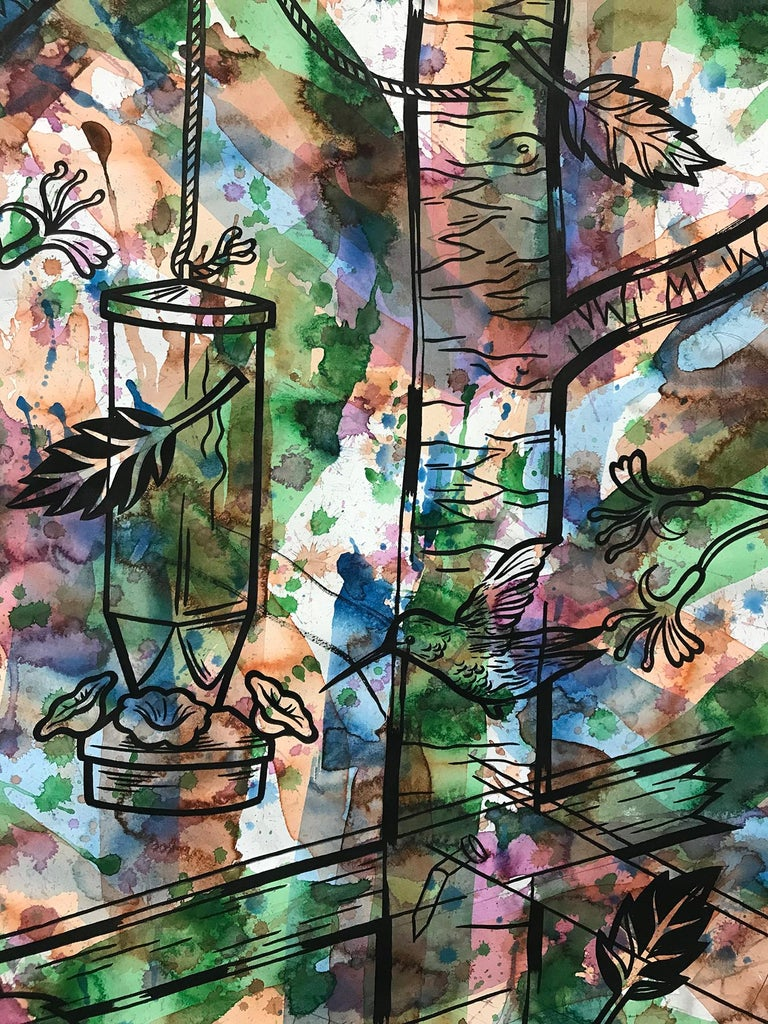 """78"""" x 42"""" ink and watercolor on paper, signed on reverse by the artist, Jesse Lambert.  The abstract ground of washes of green, blue, orange and rose tones over white create an active field of color.  The imagery of hummingbirds and bird feeders"""