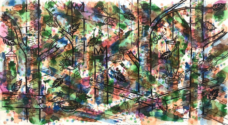 """Jesse Lambert Animal Painting - """"Hummingbirds and Honeysuckle"""", ink and watercolor painting on paper"""