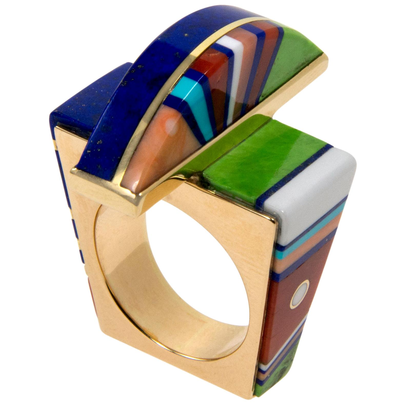 Jesse Monongya Gaspeite, Lapis, Opal, Coral, Turquoise and Gold Ring