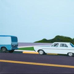 """11 AM"", Figurative Acrylic Painting, Cars, Cityscape, Landscape"