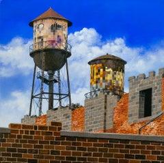 """Detroit Pixels I"", Acrylic and Oil Painting, Figurative, Cityscape, Graffiti"