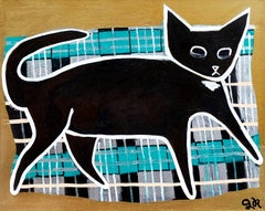 Black Cat on Blanket, Original Painting