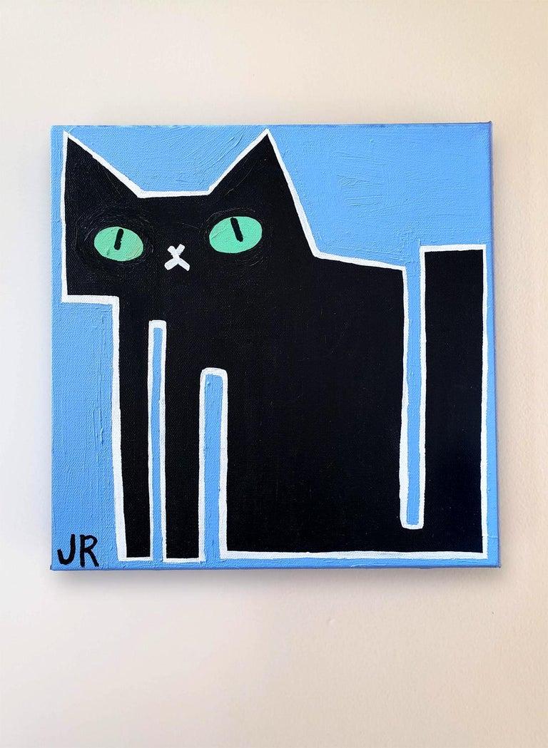 Black Cat on Blue, Original Painting 1