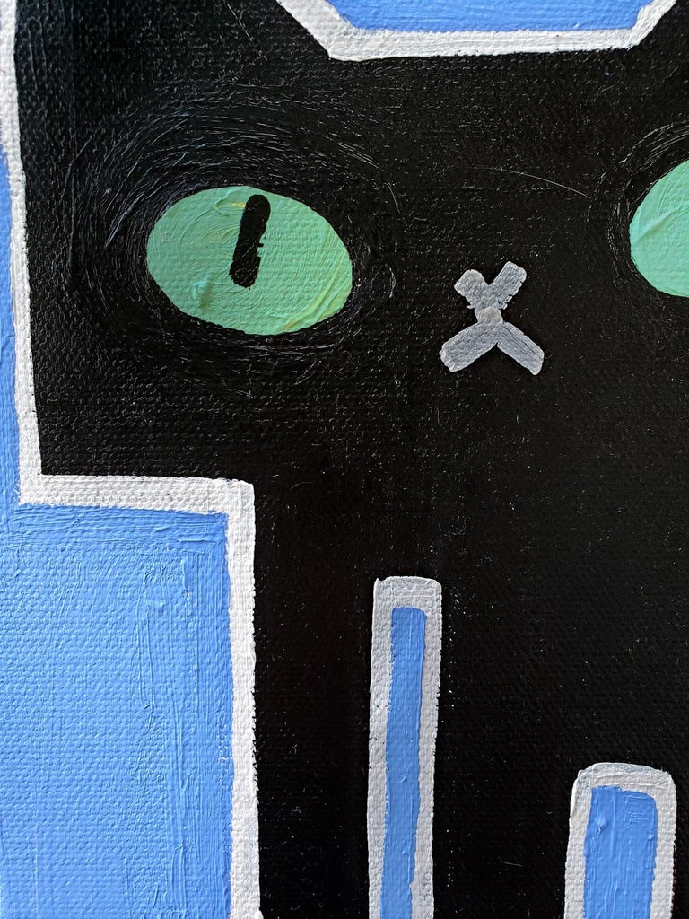 Black Cat on Blue, Original Painting 2