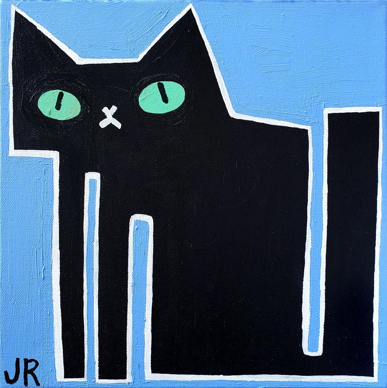 Jessica JH Roller Animal Painting - Black Cat on Blue, Original Painting
